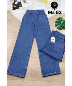 Quần ống rộng nữ quần jeans túi đắp vuông