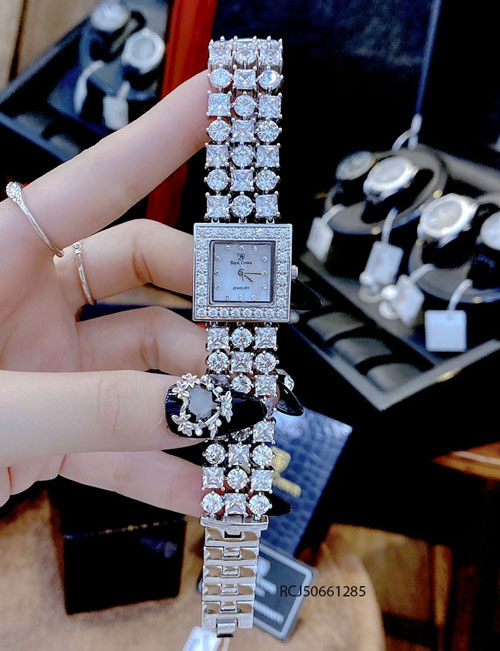 Đồng hồ Royal Crown nữ mặt vuông đính đá full