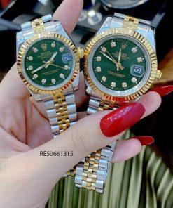 Đồng Hồ Cặp Rolex DATEJUST dây demi mặt xanh cao cấp gá rẻ