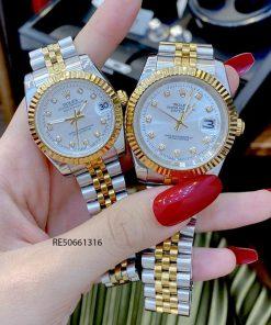 Đồng Hồ Cặp Rolex DATEJUST Nam cơ demi trắng cao cấp giá rẻ