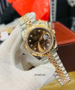 Đồng hồ Rolex nam chạy cơ Automatic dây kim loại mặt nâu