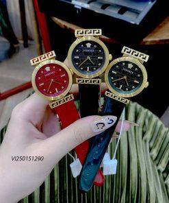 Đồng hồ Nữ Versace Meander Leather dây da màu đỏ cao cấp
