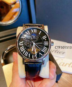 Đồng hồ Cartier chạy cơ tự động nam dây da màu đen