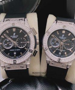 Đồng hồ Hublot Cặp nam nữ 6 kim viền bạc đính đá dây cao su