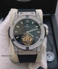 Đồng hồ Hublot cơ Thụy Sĩ đính đá dây cao su màu đen