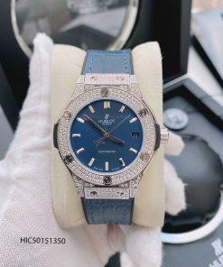 đồng hồ Hublot nữ máy cơ dây màu xanh dương viền đính đá