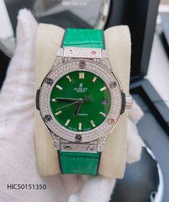 đồng hồ Hublot nữ máy cơ dây màu xanh lá viền đính đá