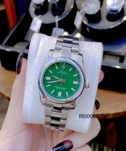 Đồng hồ Rolex Oyster nữ chạy cơ Automatic bạc mặt xanh cao cấp