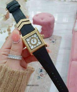 Đồng hồ versace nữ mặt vuông dây da đen giá rẻ