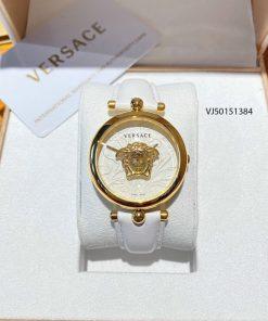 Đồng hồ nữ Versace Palazzo Empire Barocco mặt tròn dây da màu trắng