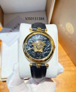 Đồng hồ nữ Versace mặt tròn Palazzo Empire Barocco dây da đen