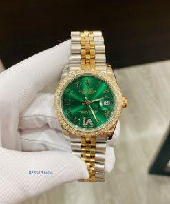 đồng hồ rolex ngọc trinh dây demi mặt xanh size 31mm