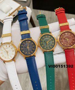 Đồng hồ nữ Versace V-Circle Medusa 2021 dây da màu đỏ cao cấp