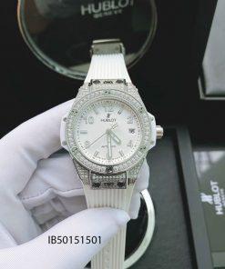 đồng hồ hublot nữ đính kim cương dây màu trắng