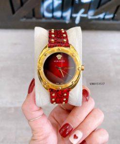 Đồng hồ Versace Shadov nữ dây da cao cấp màu đỏ