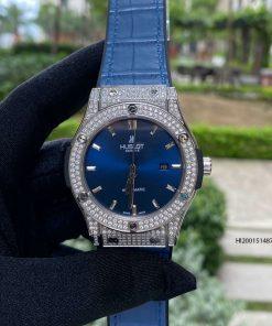 Đồng hồ Hublot Cặp Máy cơ đính đá hột tròn dây cao su bọc da xanh cao cấp