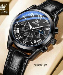 Đồng hồ nam Olevs chạy full kim dây da giá rẻ