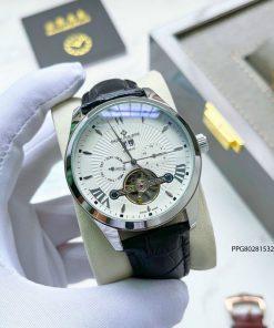 Đồng hồ nam Patek Philippe cơ lộ máy cao cấp dây da sang trọng